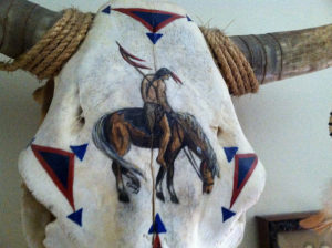 grease and grace, gift shop, native american, cattle skull, painted skull, cow skull