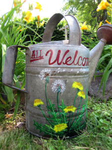 galvanized watering can, antique, gardening, painted watering can, welcome sign, dandelion, flowers, nature lover, gift shop, art gifts, gifts for gardener, gifts for her, welcome sign, welcome signs, personalized sign, grease and grace