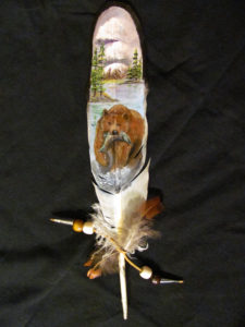 native american art, painted feather, eagle feather, bear art, animal art, hunting scene, hunting lodge, decor, home decor, gift, art gift, gift shop, animal lover, gift for animal lover, gift for nature lover, gift for camper, camping enthusiast, country decor, cottage decor, wall art, hanging art, wall decor, feather art, bohemian art, nature art, wildlife art, miniature painting