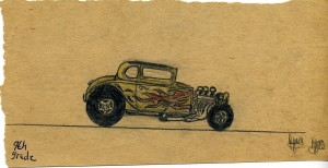 Done as a youth (junior high school). Dean's gift for hot rod art began early.