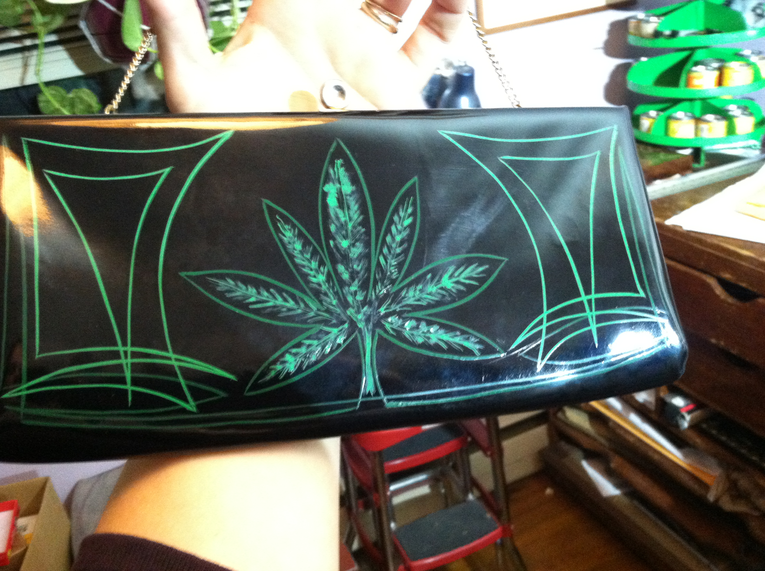 pinup, accessories, handbag, purse, clutch, patent leather, rockabilly, pinup girl, pin-striping, pinstriped, retro, psychobilly, etsy, retail, 50s, fashion, 60s, 40s, kustom kulture, norml, pot leaf