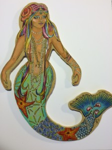 mermaid, ocean, sea, retro, rockabilly, pinup, burlesque, sea creatures, fairies and myths, legends, little mermaid, hand made, art, custom, gift, ornament