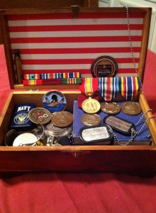 grease and grace, navy, memorial, war, servicemen, military, medals, keepsake box, trophy box