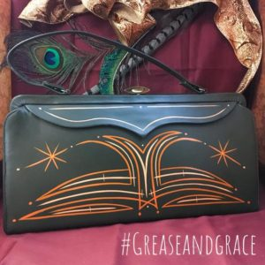 grease and grace, vintage handbags, pinstriped, rockabilly, 1950s, pin up